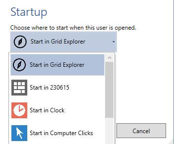 choosing startup grid set