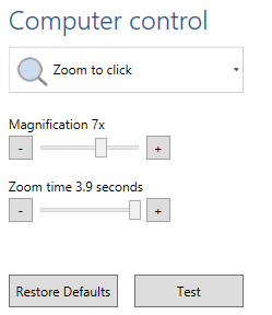 access mouse zoom to click