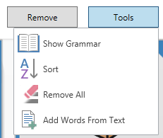 word list tools menu