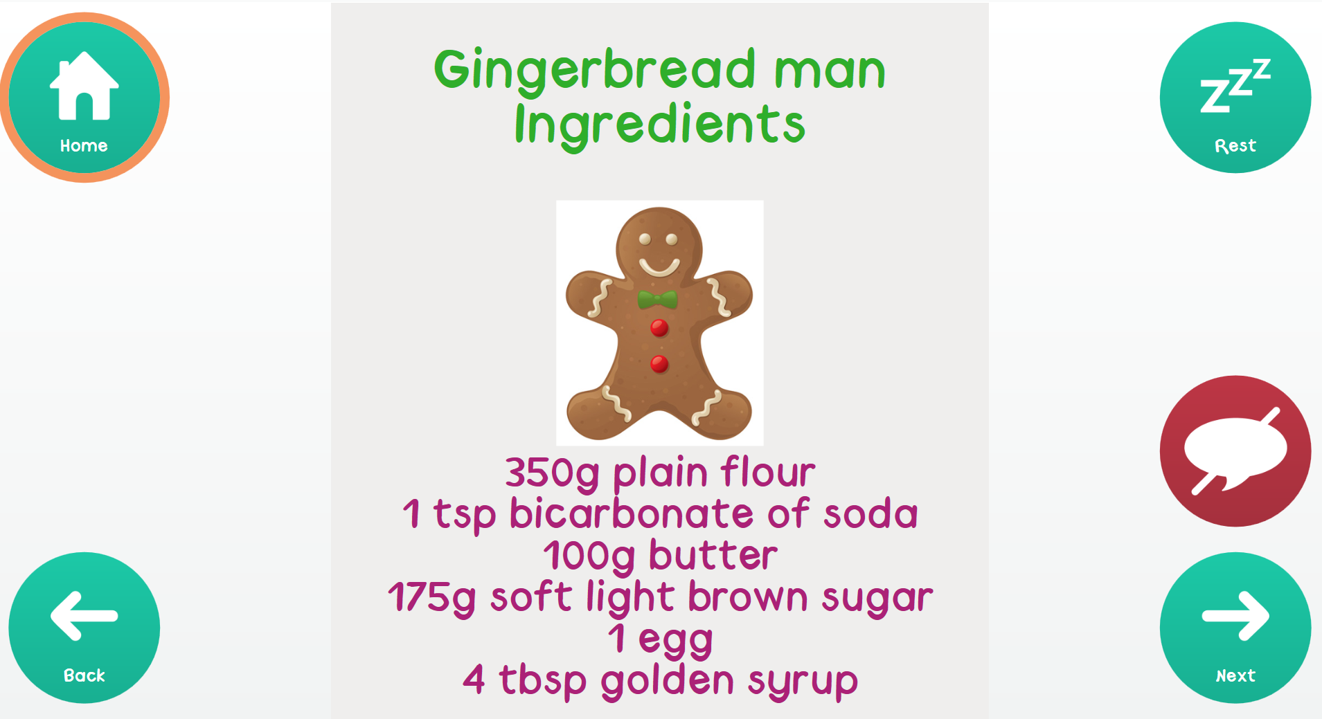 Gingerbread recipe grid