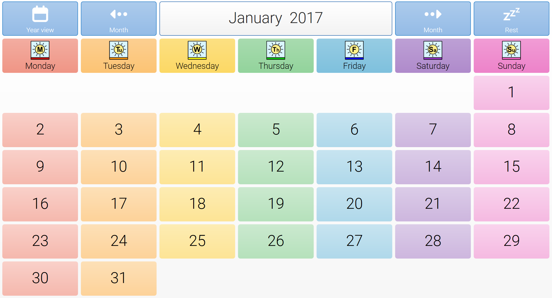Calendar Grid : Jamie s calendar grid set thinksmartbox