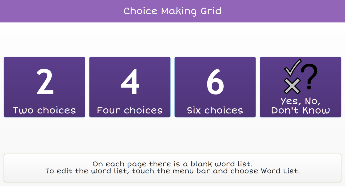 Choice making grid set