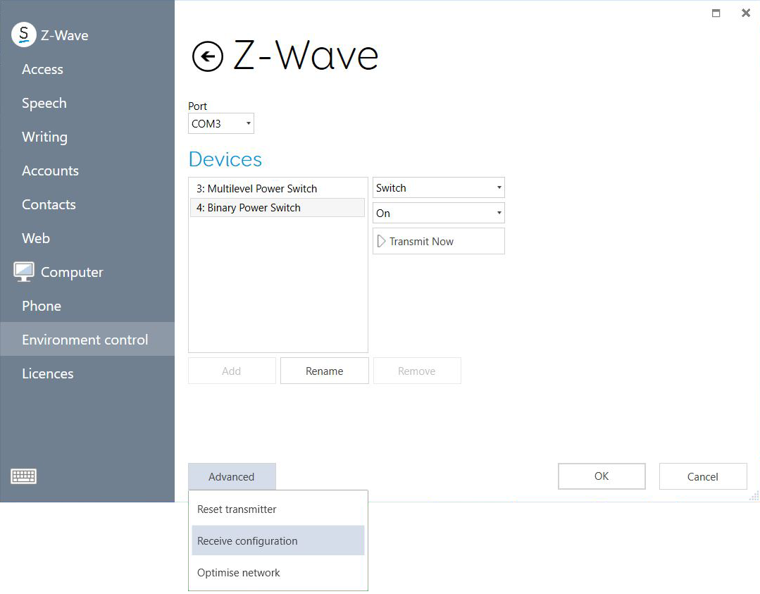 Advanced Z-Wave options