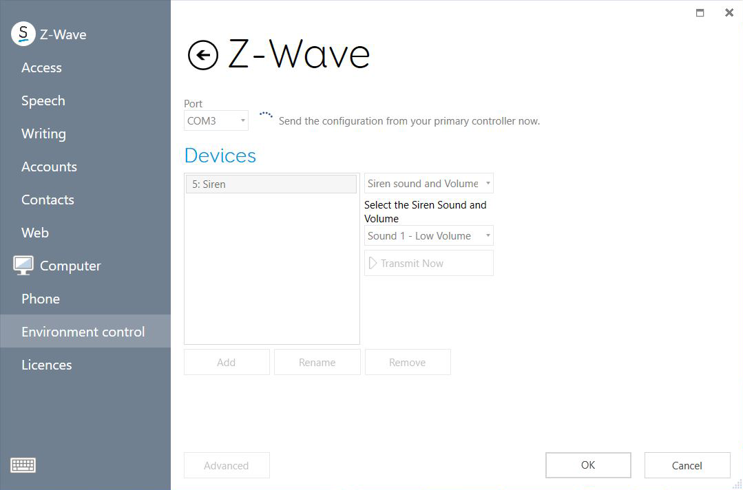 Z-Wave receive configuration options