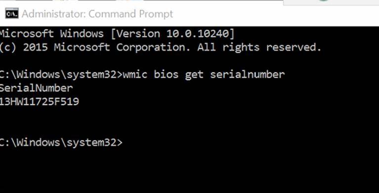 windows 10 serial number cmd