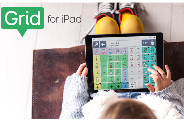 Child with yellow tights using Grid for iPad