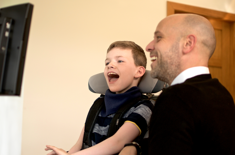 Power Pad user Fraser and Assistive Technology Specialist Graeme