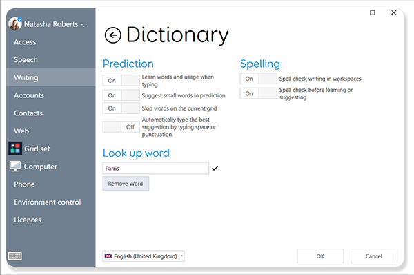 Dictionary settings in Grid 3
