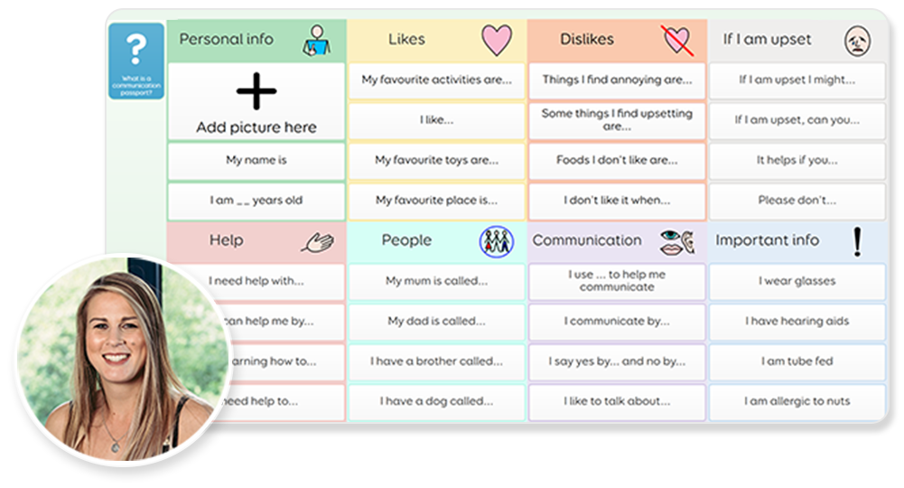Screenshot of the communication passport template by Jess