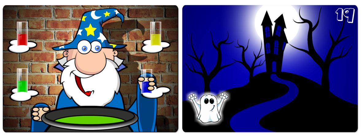 A wizard mixing potions, and a ghost floats by a haunted house