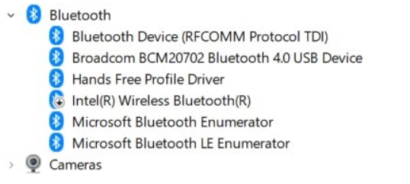 Bluetooth adapter settings