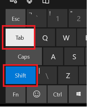 On screen keyboard with Tab and Shift highlighted