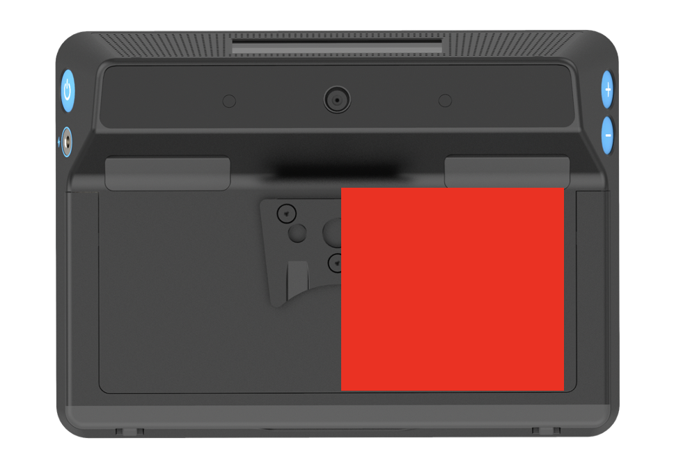 diagram of the rear of Grid Pad 10s with red square marked on the right hand side of the device